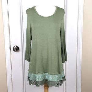LOGO | Green Knit Top Woven and Lace Trim
